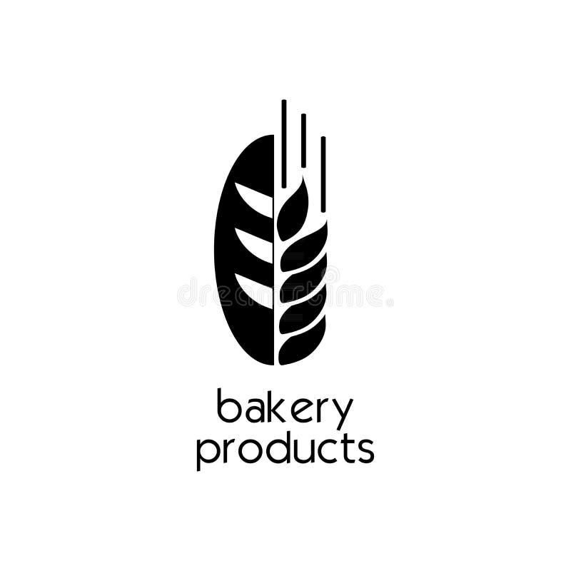Projeto liso criativo do ícone da padaria do pão Sinal ou símbolo simples ilustração stock