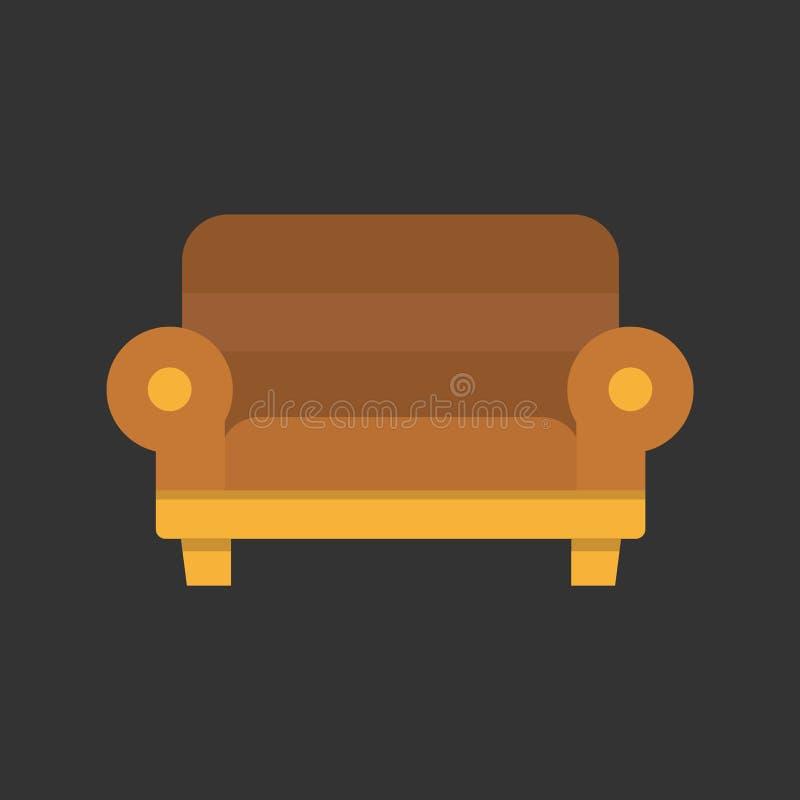 Projeto liso da cadeira do sofá no preto ilustração royalty free