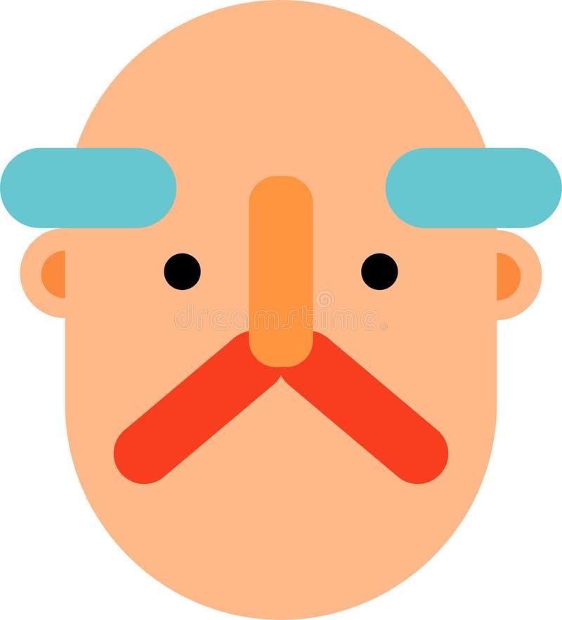 Projeto liso da cara do ancião ilustração do vetor
