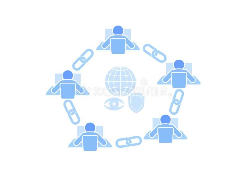 Projeto liso da conexão do sinal da relação de Blockchain Conceito da rede da indústria da segurança do hiperlink do ícone da cor ilustração stock