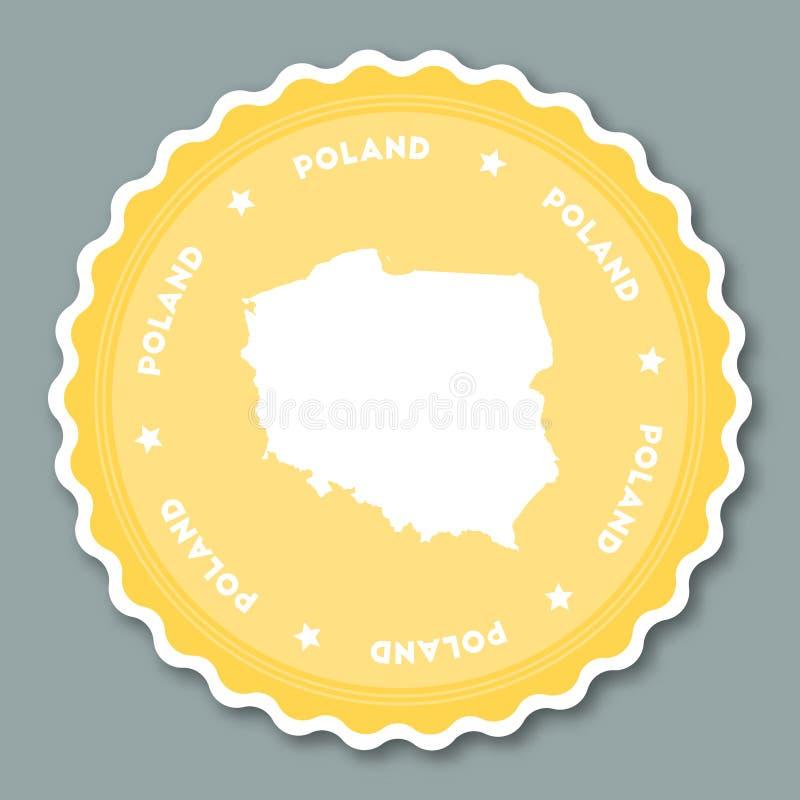 Projeto liso da etiqueta do Polônia ilustração stock