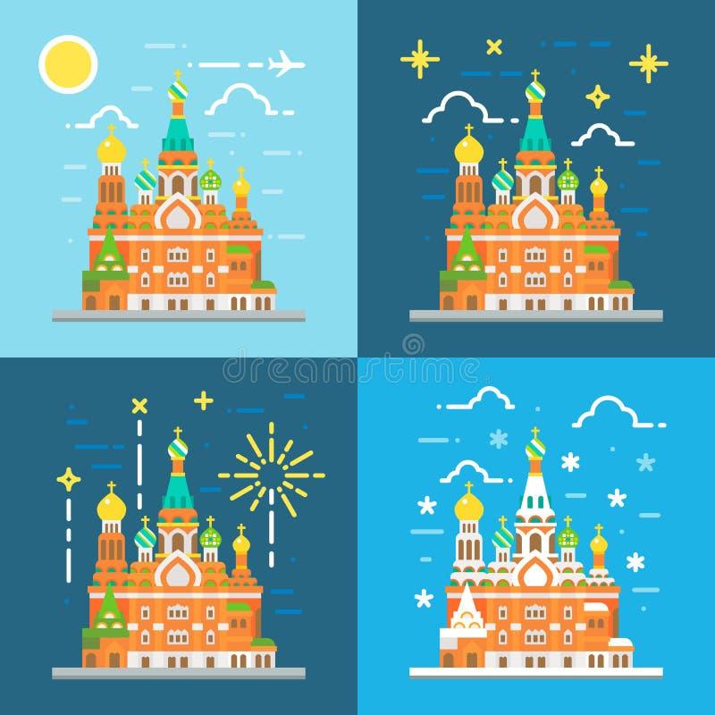 Projeto liso da igreja do salvador no sangue Rússia ilustração stock