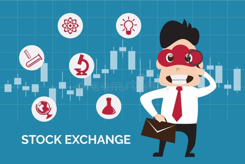 Projeto liso da ilustração do homem de negócio que encontra a bolsa de valores no fundo do castiçal ilustração royalty free