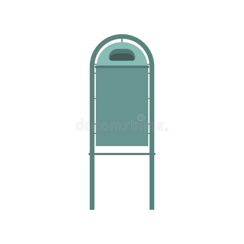 Projeto liso da ilustração do vetor do ícone do escaninho de lixo do metal ilustração do vetor