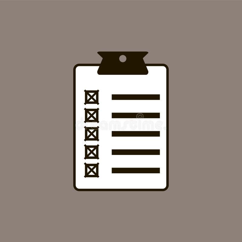 Projeto liso da ilustração do vetor do ícone da lista de verificação ilustração stock