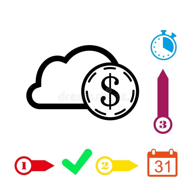 Projeto liso da ilustração do vetor do estoque do ícone da nuvem do dinheiro do dólar ilustração royalty free