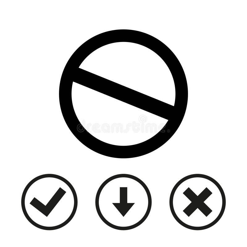 Projeto liso da ilustração do vetor do estoque do ícone dos comprimidos ilustração do vetor