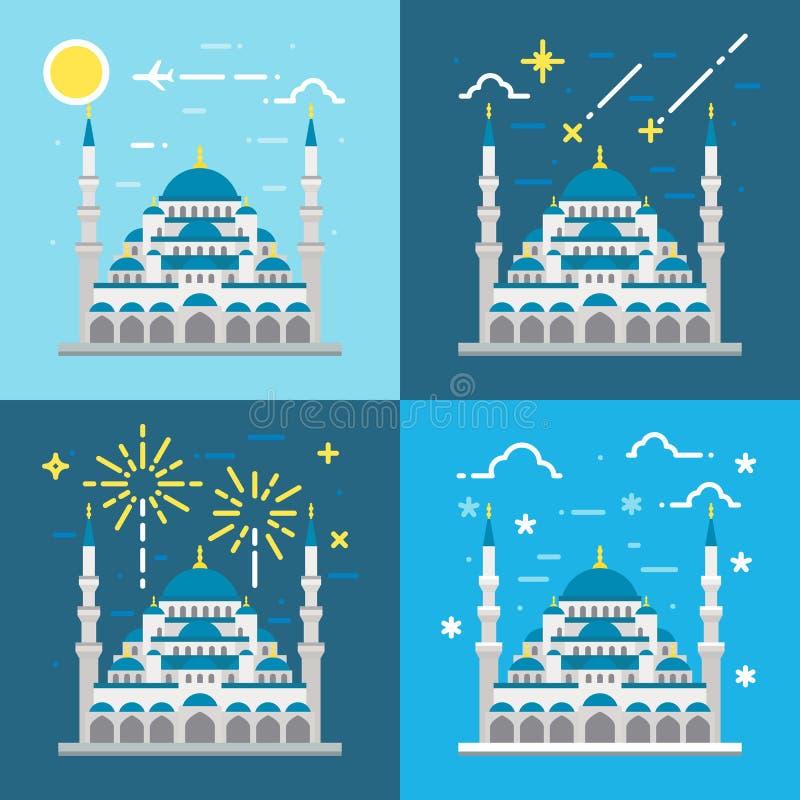 Projeto liso da mesquita azul Istambul Turquia ilustração royalty free