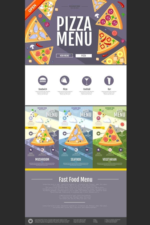 Projeto liso da site do conceito do menu da pizza do estilo ilustração stock