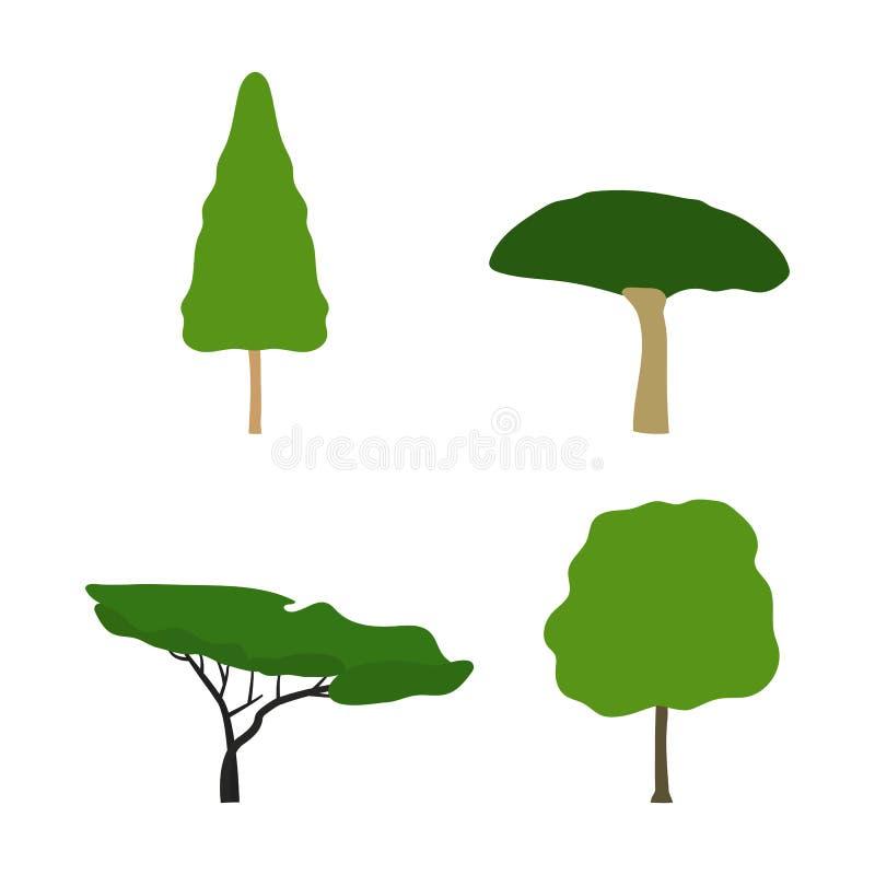 Projeto liso das árvores ajustadas do vetor ilustração do vetor
