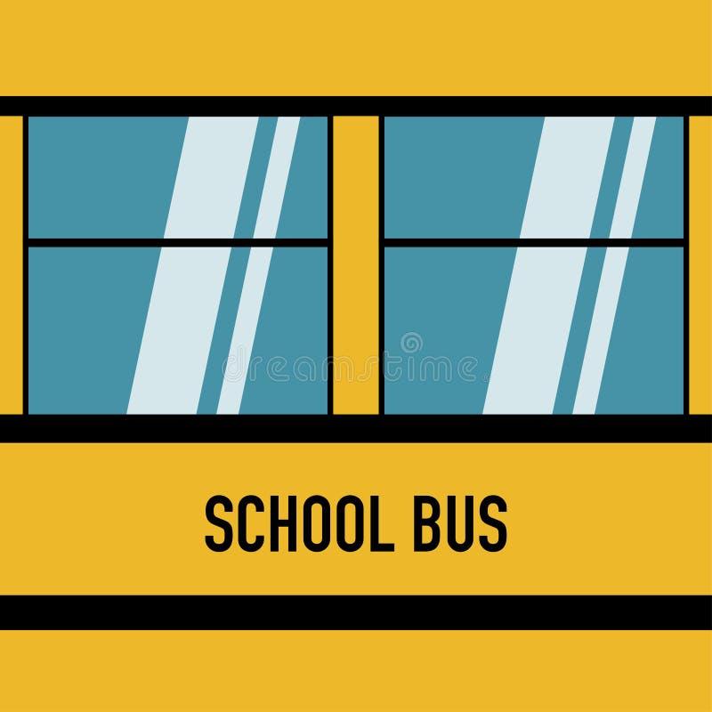 Projeto liso das janelas azuis americanas do ônibus escolar ilustração do vetor