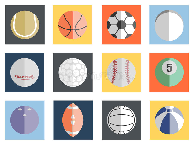 Projeto liso das várias bolas ilustração royalty free