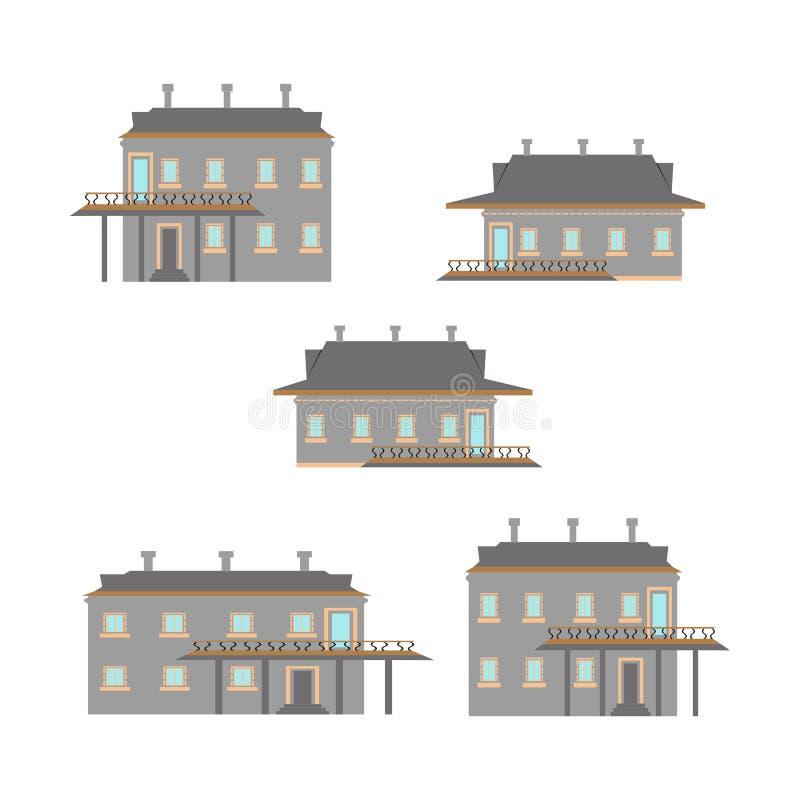 Projeto liso de casas retros e modernas da cidade Construções velhas, arranha-céus construção colorida da casa de campo ilustração royalty free