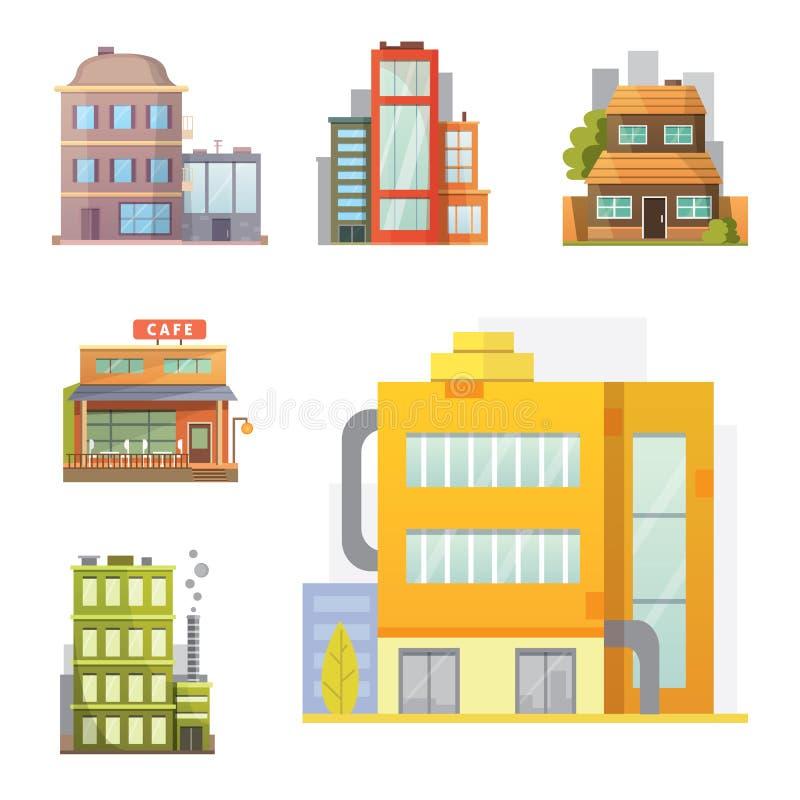 Projeto liso de casas retros e modernas da cidade Construções velhas, arranha-céus construção colorida da casa de campo, casa do  ilustração do vetor