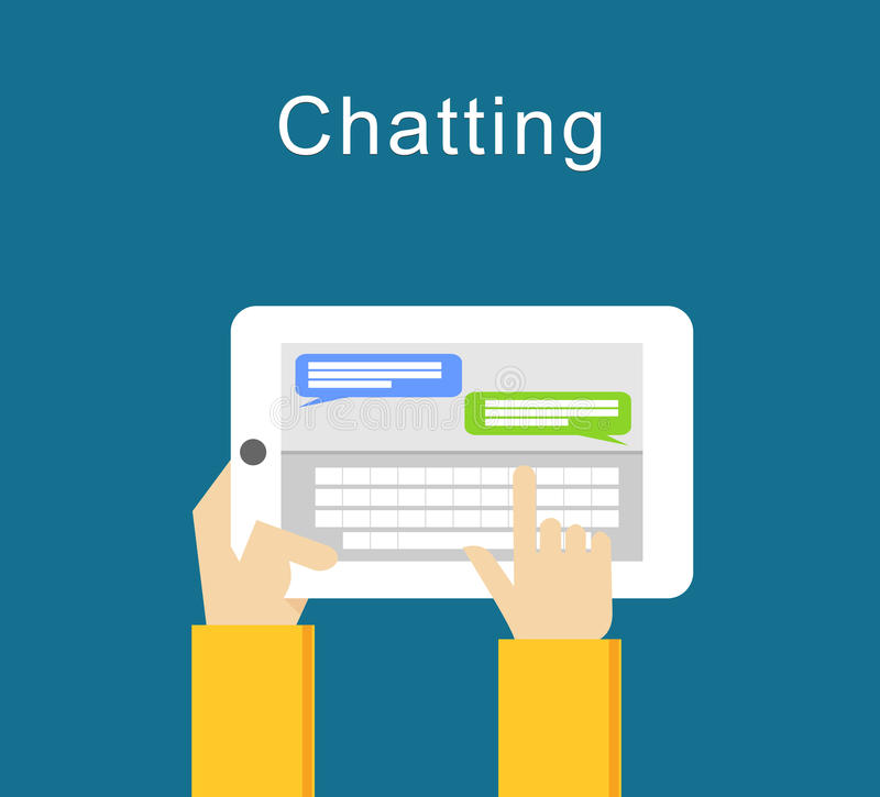 Projeto liso de conversa da ilustração do conceito Ilustração de SMS Texting Emita a mensagem ilustração do vetor