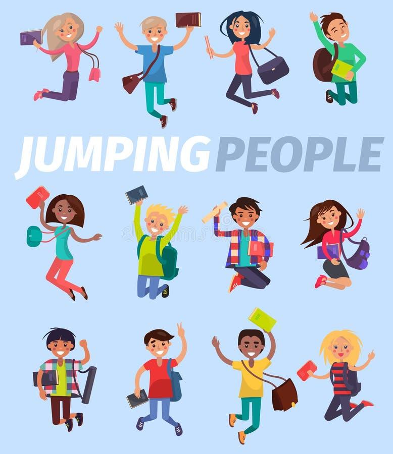 Projeto liso de salto dos estudantes felizes dos povos doze ilustração stock