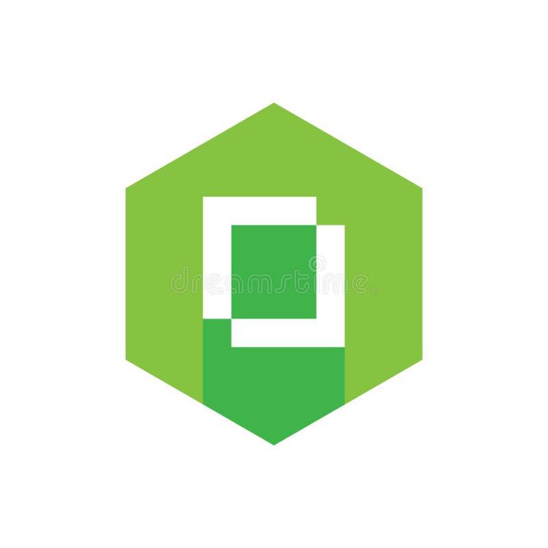 Projeto liso do ícone do alfabeto O, combinado com o hexágono verde, estilo longo da sombra ilustração royalty free