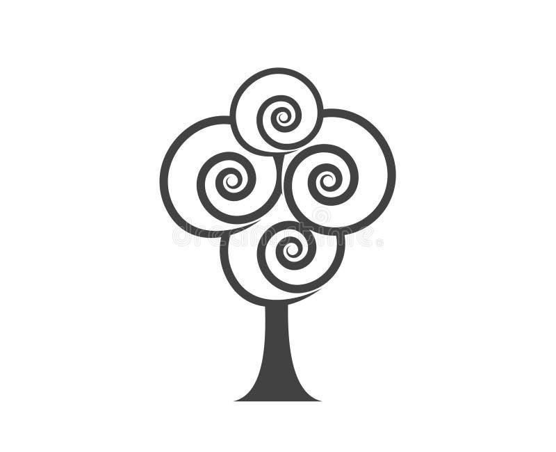 Projeto liso do ícone com árvore abstrata Ícone liso do vetor em preto e branco ilustração do vetor