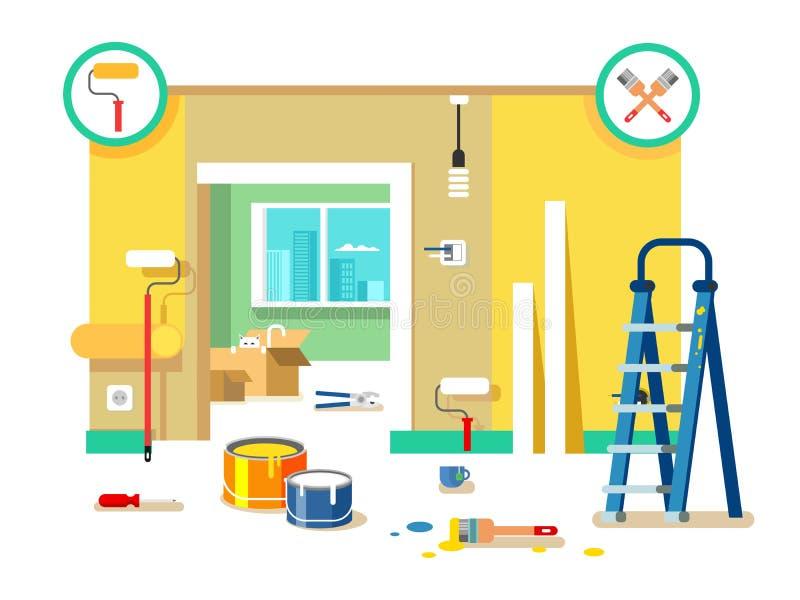 Projeto liso do apartamento da renovação ilustração stock