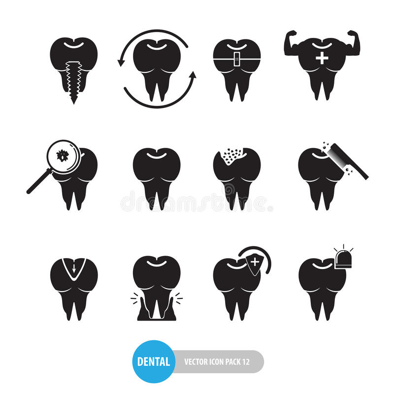 Projeto liso do bloco dental médico do ícone do dente isolado no fundo branco ilustração do vetor
