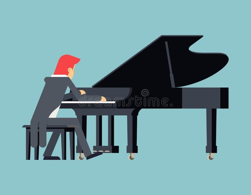 Projeto liso do caráter de Piano Player Concept do pianista ilustração royalty free