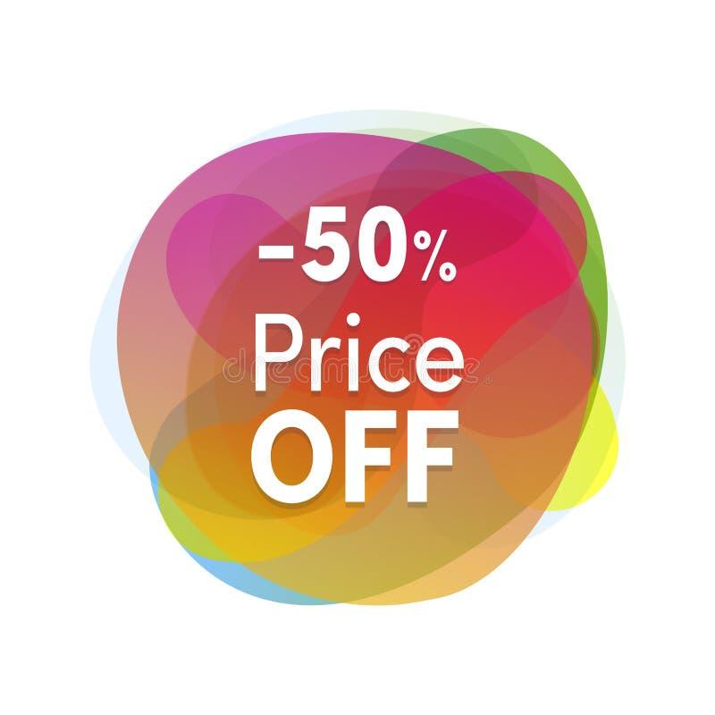 Projeto liso do colofrul da etiqueta da venda Promoções do produto, 50 por cento fora do preço Etiqueta ou ícone moderno do disco ilustração do vetor
