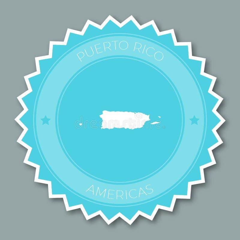 Projeto liso do crachá de Porto Rico ilustração do vetor