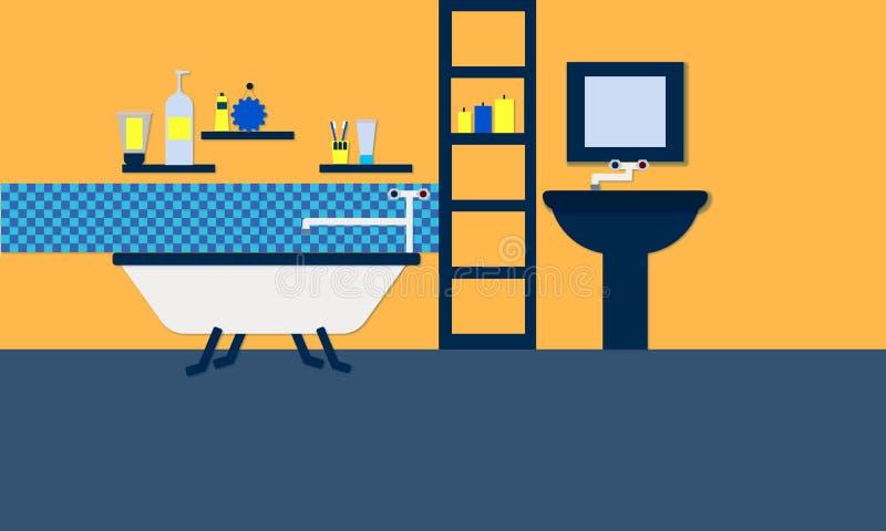 Projeto liso do estilo da ilustração do banheiro fotografia de stock royalty free