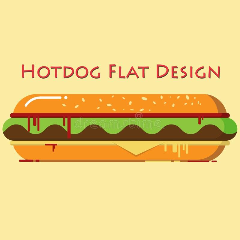 Projeto liso do Hotdog foto de stock royalty free