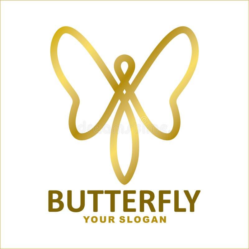 projeto liso do logotipo do ouro luxuoso da borboleta ilustração stock