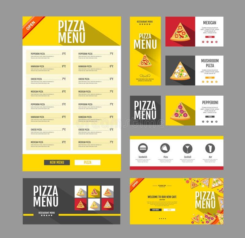 Projeto liso do menu da pizza do estilo Molde do original ilustração royalty free