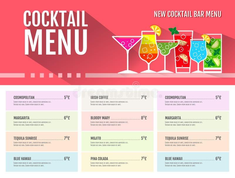 Projeto liso do menu do cocktail do estilo ilustração royalty free