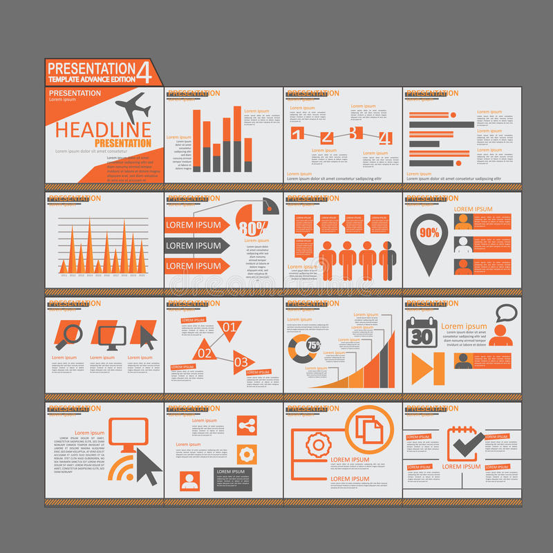 Projeto liso do molde alaranjado dos elementos de Infographic da apresentação ilustração royalty free
