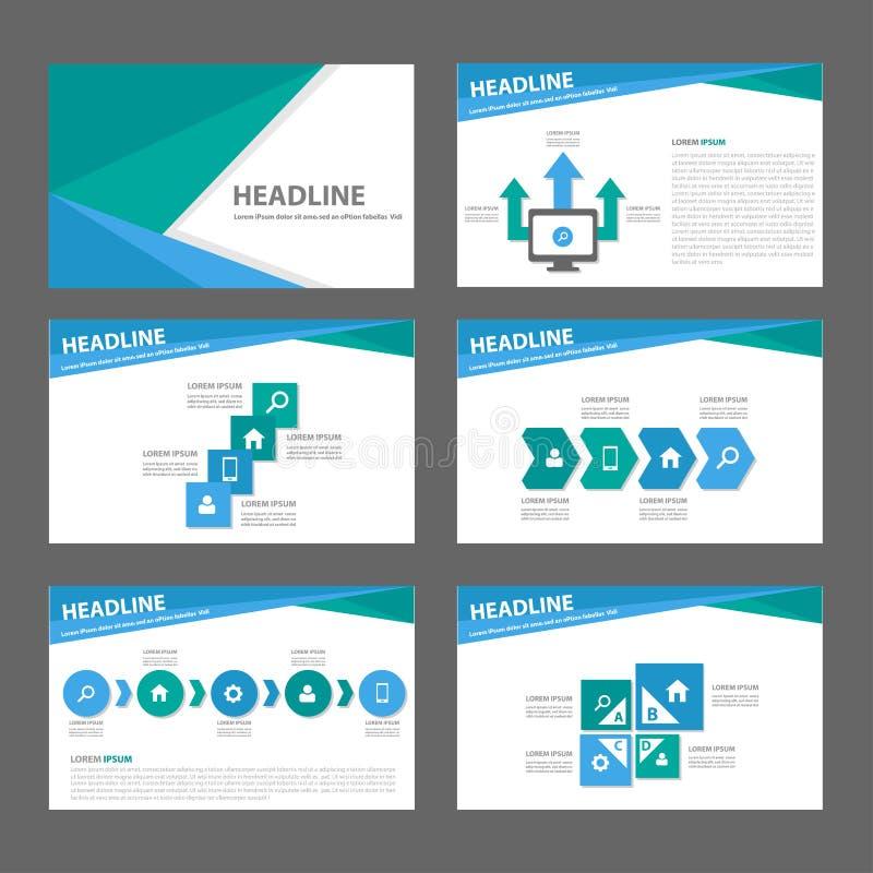 Projeto liso do molde de múltiplos propósitos azul e verde do Web site do folheto do inseto do folheto ilustração stock