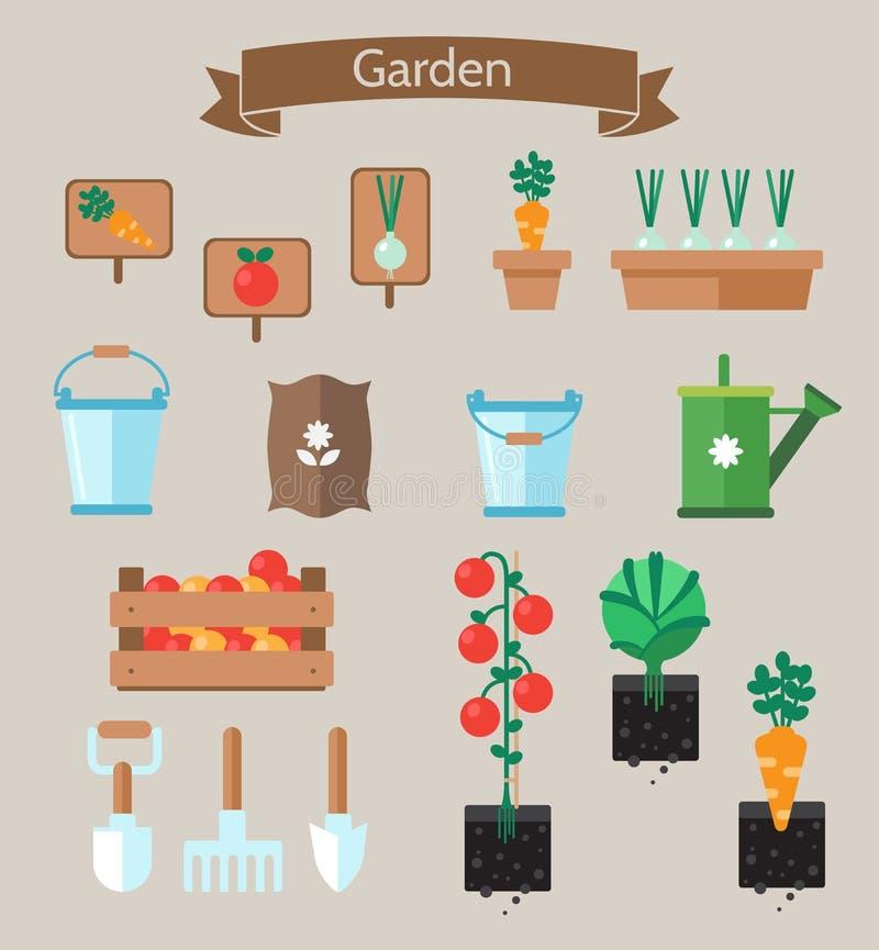 Projeto liso do planejador do jardim vegetal Camas com couve, cenouras ilustração royalty free