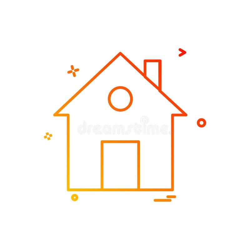 projeto liso do vetor do ícone da casa home ilustração stock