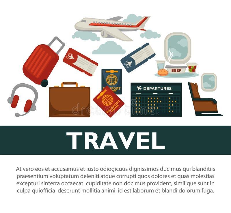 Projeto liso do vetor do cartaz da excursão do mundo do curso ou do avião por férias da agência ou de verão do turismo ilustração do vetor
