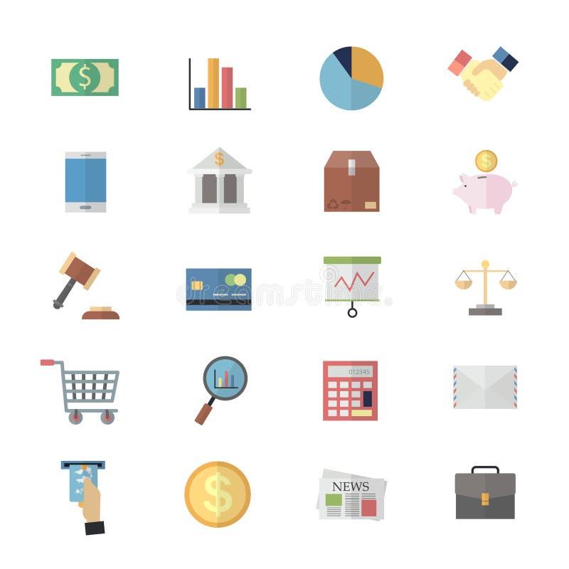 Projeto liso dos ícones da cor para a gestão empresarial ilustração stock
