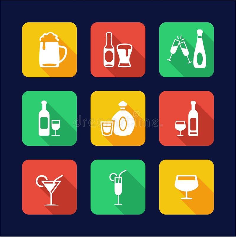 Projeto liso dos ícones das bebidas alcoólicas ilustração royalty free