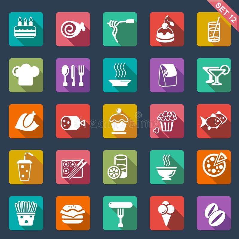 Projeto liso dos ícones do alimento