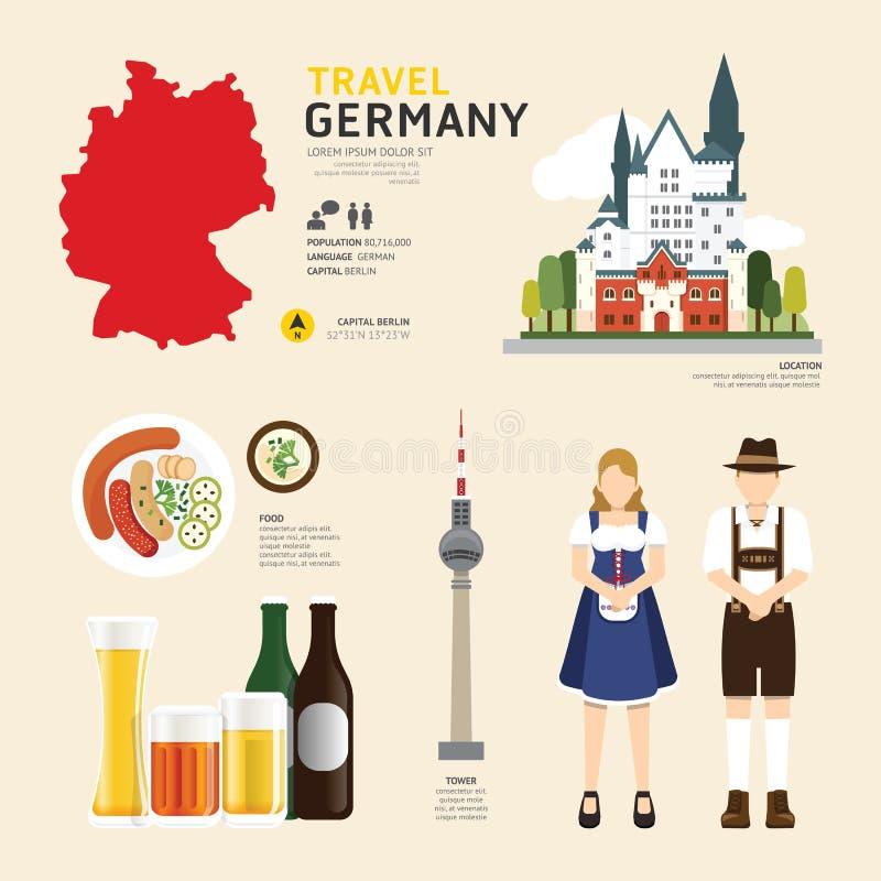 Projeto liso dos ícones do marco de Alemanha do conceito do curso Vetor ilustração stock