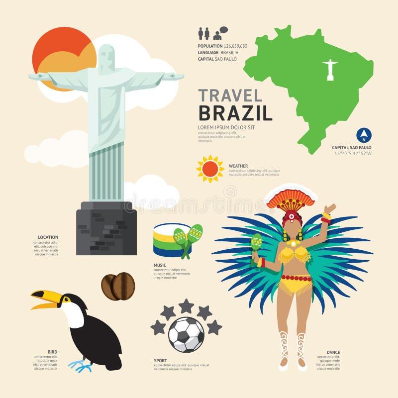 Projeto liso dos ícones do marco de Brasil do conceito do curso Vetor ilustração stock