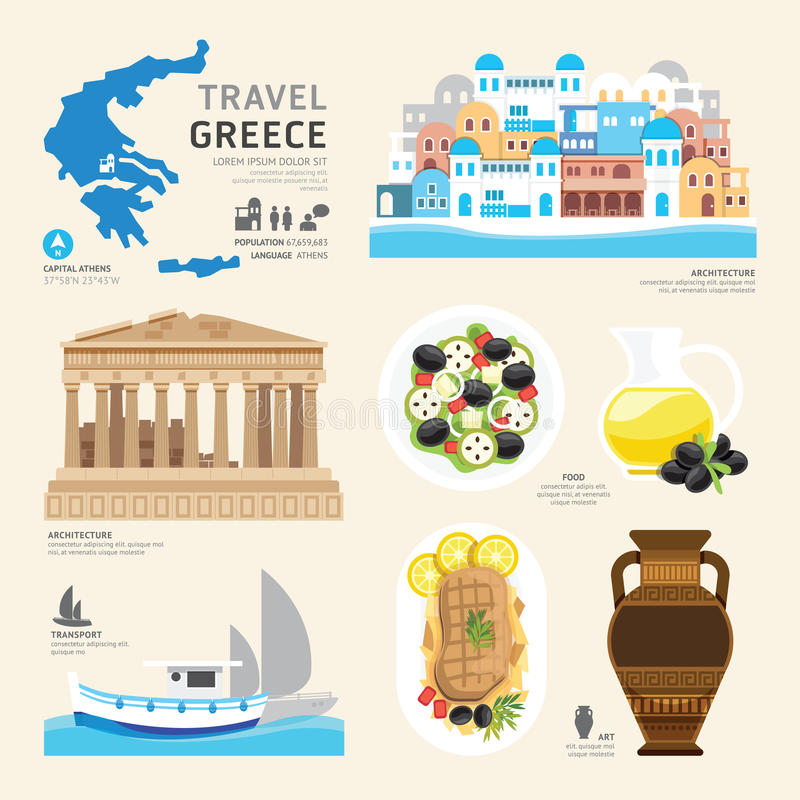 Projeto liso dos ícones do marco de Grécia do conceito do curso Vetor ilustração royalty free