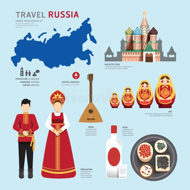 Projeto liso dos ícones do marco de Rússia do conceito do curso Vetor ilustração royalty free