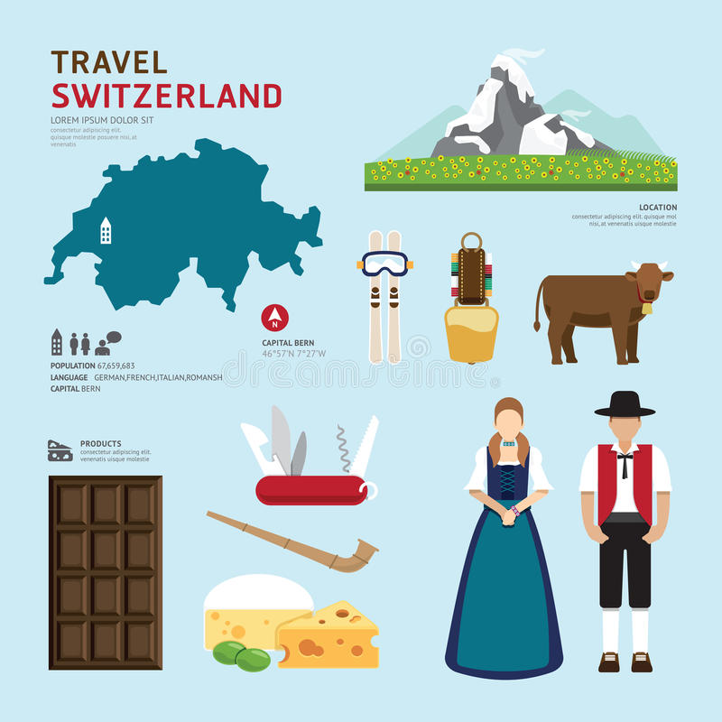 Projeto liso dos ícones do marco de Suíça do conceito do curso Vetor ilustração stock