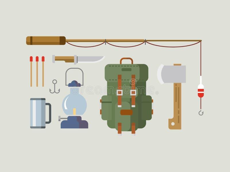 Projeto liso dos artigos da caça da pesca ilustração royalty free