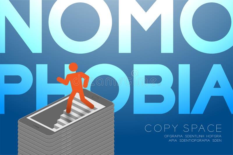 Projeto liso isométrico do conceito do apego do smartphone da síndrome de Nomophobia, cor vermelha do ícone do homem do pictogram ilustração stock