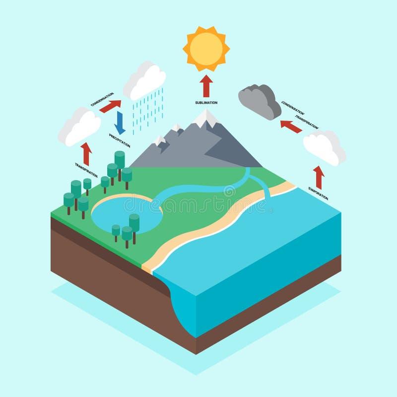 Projeto liso isométrico infographic do ciclo hidrológico ilustração royalty free