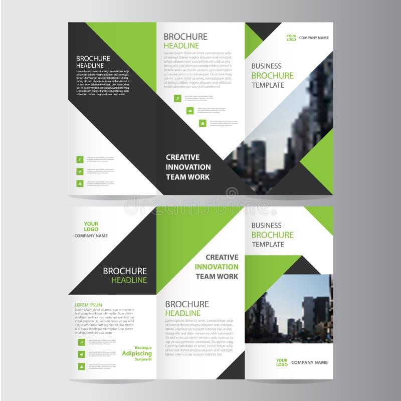 Projeto liso mínimo do vetor dobrável em três partes preto verde do molde do inseto do folheto do folheto do negócio do negócio d ilustração stock