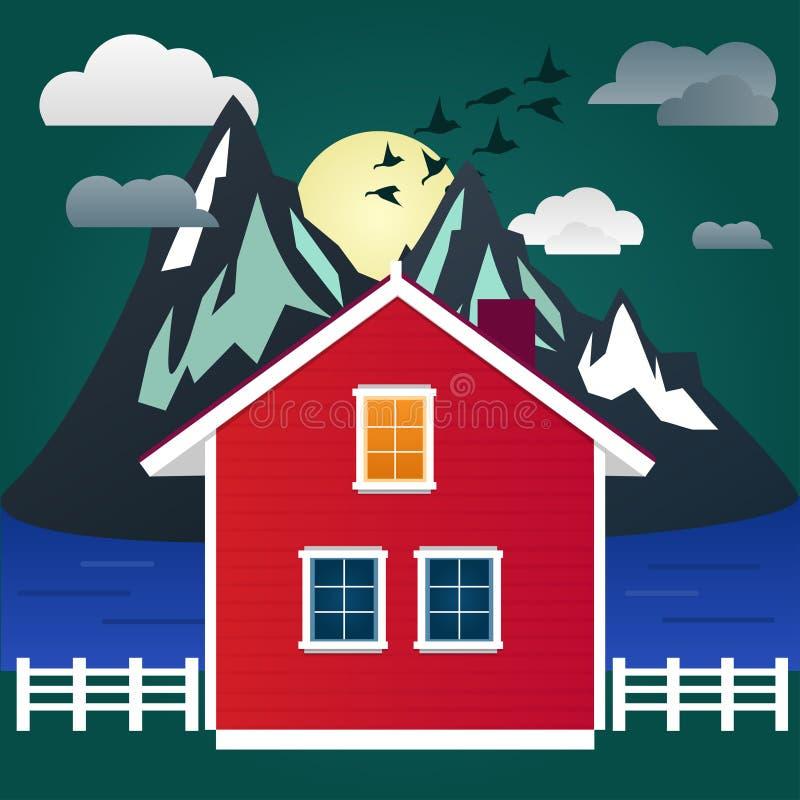 Projeto liso Montanhas, pássaros, lua, rio e casa da noite Paisagem fotos de stock